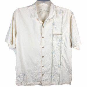 Tommy Bahama Silk Hawaiian Button Shirt Men Medium
